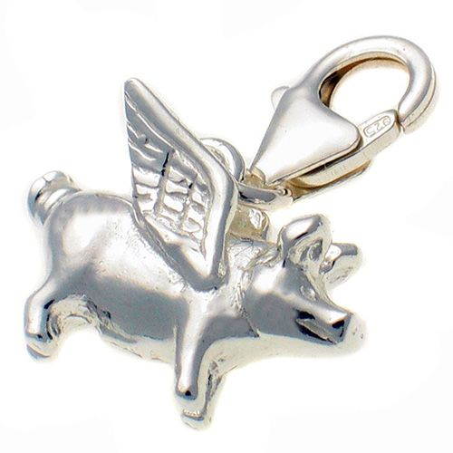 Pig Flying Sterling Silver Charm