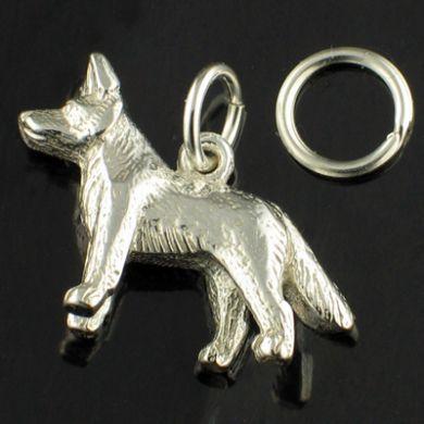 Alsatian Dog Charm, sterling silver