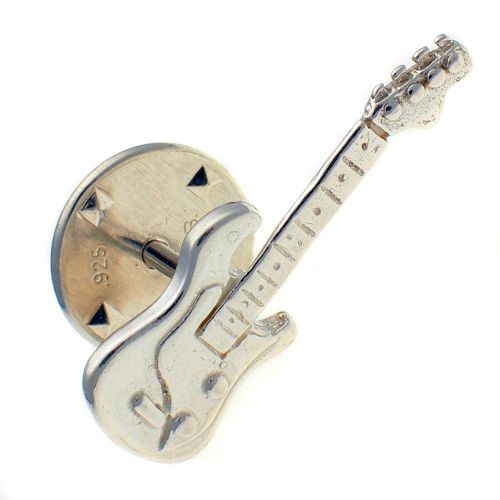 Guitar Sterling 925 Silver Lapel Pin