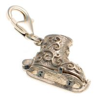 Ice Skate Ornate Sterling Silver Charm
