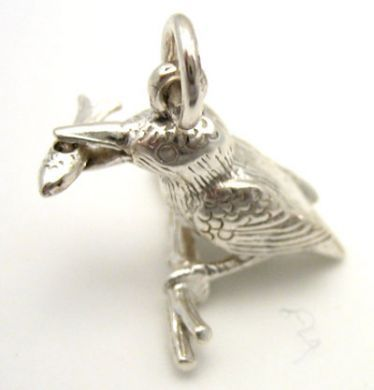 Bird Kingfisher Sterling Silver Charm