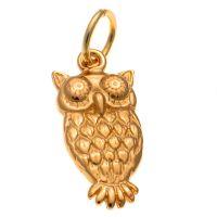 9ct Gold Owl Charm Pendant