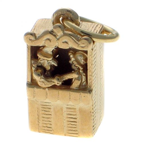 9ct Gold Punch & Judy Theatre Kiosk, Moving Figures, Charm Pendant