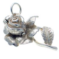 Rose and Bee sterling silver charm