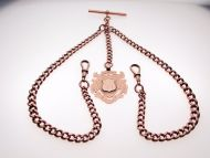 Edwardian 9ct Rose Gold Heavy Weight 65 Graduated Link Double Albert Watch Chain - For liz.ann only.