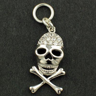 Skull and Crossbones CZ set Pendant Charm