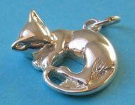 Cat sleeping pendant charm, sterling silver