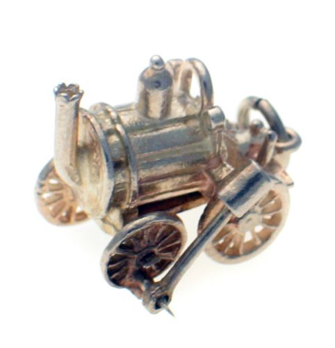Rocket steam engine silver charm