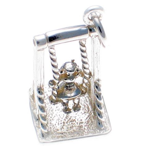 Swing and Girl Silver Charm