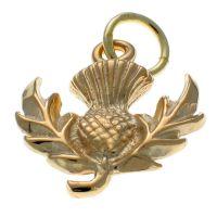 9ct Gold Scottish Thistle Charm Pendant