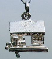 Train Station Charm, sterling silver