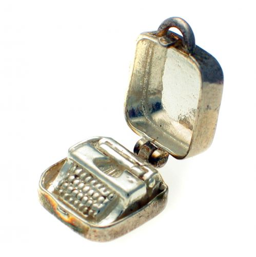 Typewriter in case silver charm