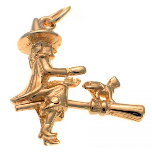 9ct Gold Witch Meg & Mog Charm Pendant