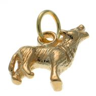 9ct Gold Howling Wolf Charm Pendant