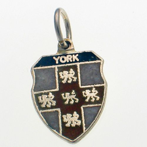 York Shield Charm Sterling Silver